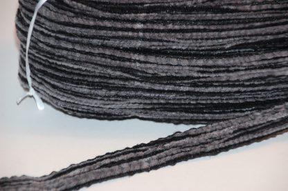 Velourbandstro zwart/grijs